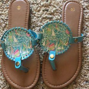 Shoes - Lilly Pulitzer inspired you gotta regatta sandals
